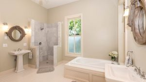 bathroom, standing shower, bathtub